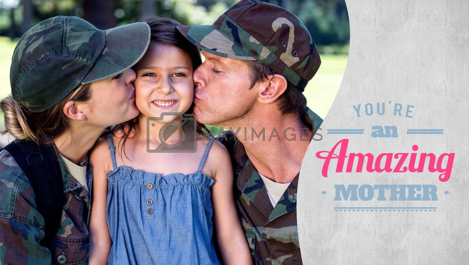 mothers day greeting against a soldier couple kissing their daughter