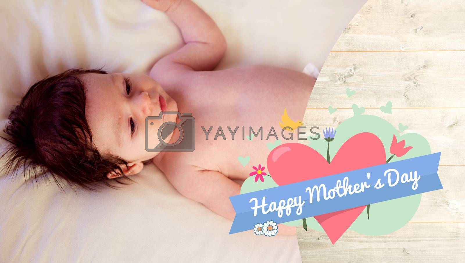 mothers day greeting against a baby sleeping in his bed