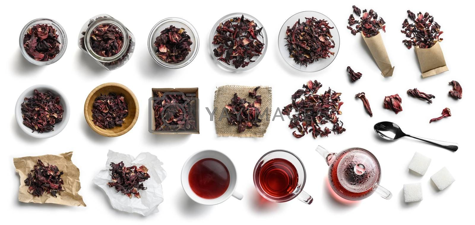 Hibiscus tea and accessories top view on white background.