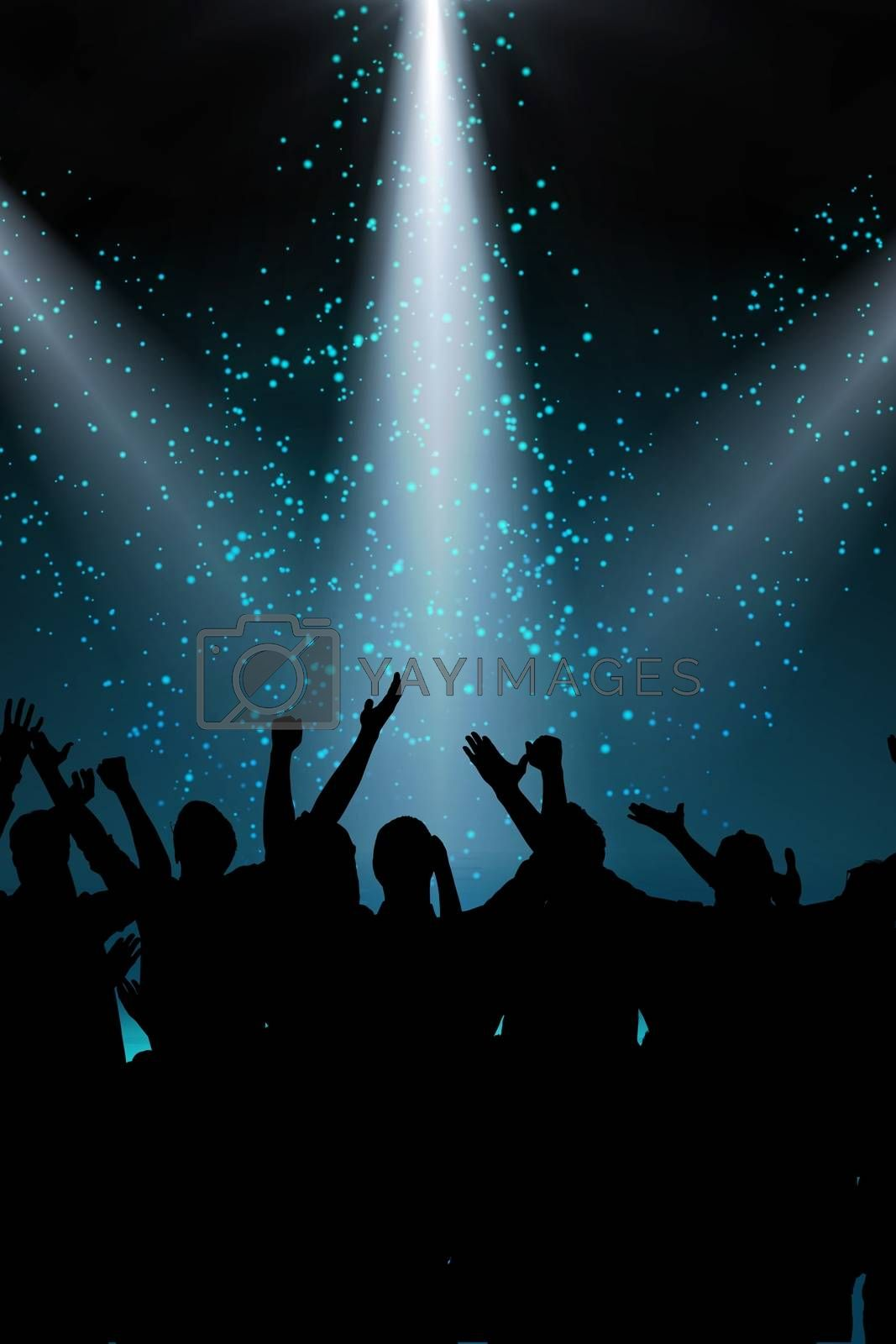 Composite image of people enjoying a concert in a blue background