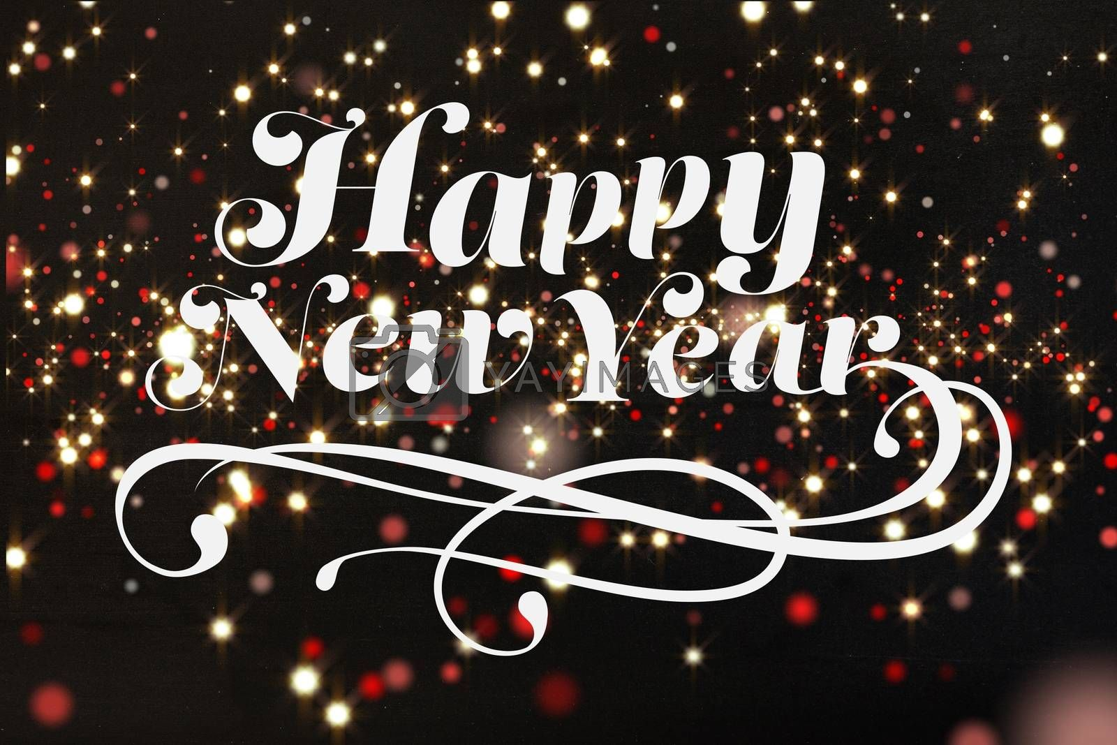 Composite image of Happy new year in a black background