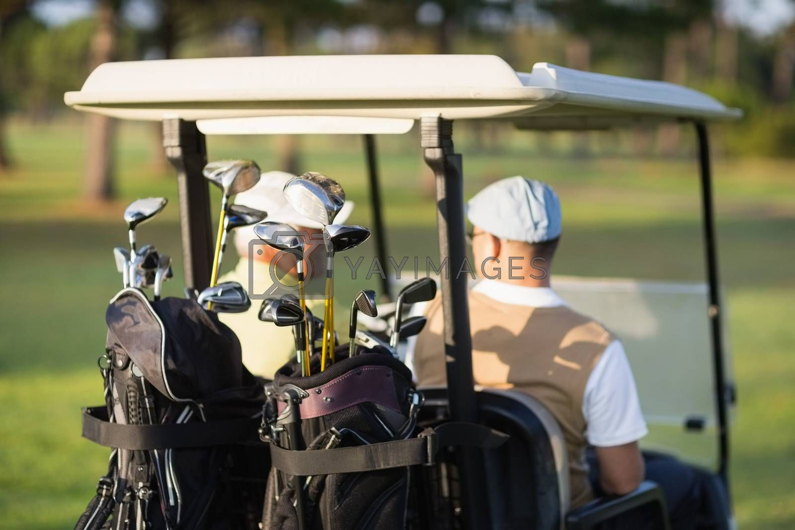Rear view of golfer friends sitting in golf buggy on sunny day