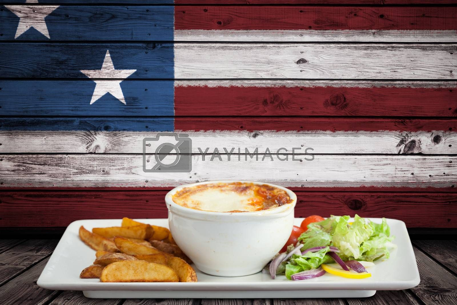 Focus on food  against composite image of usa national flag