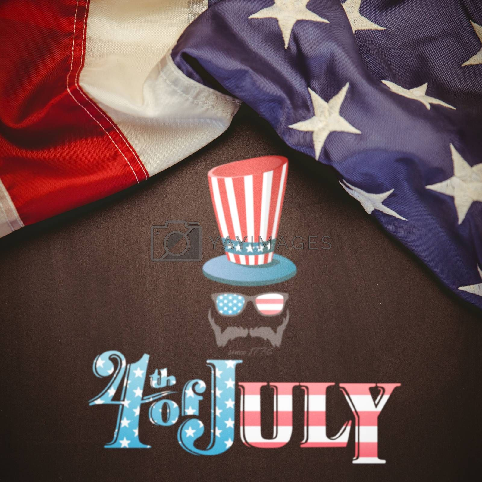 Focus on 4th july against white background with vignette