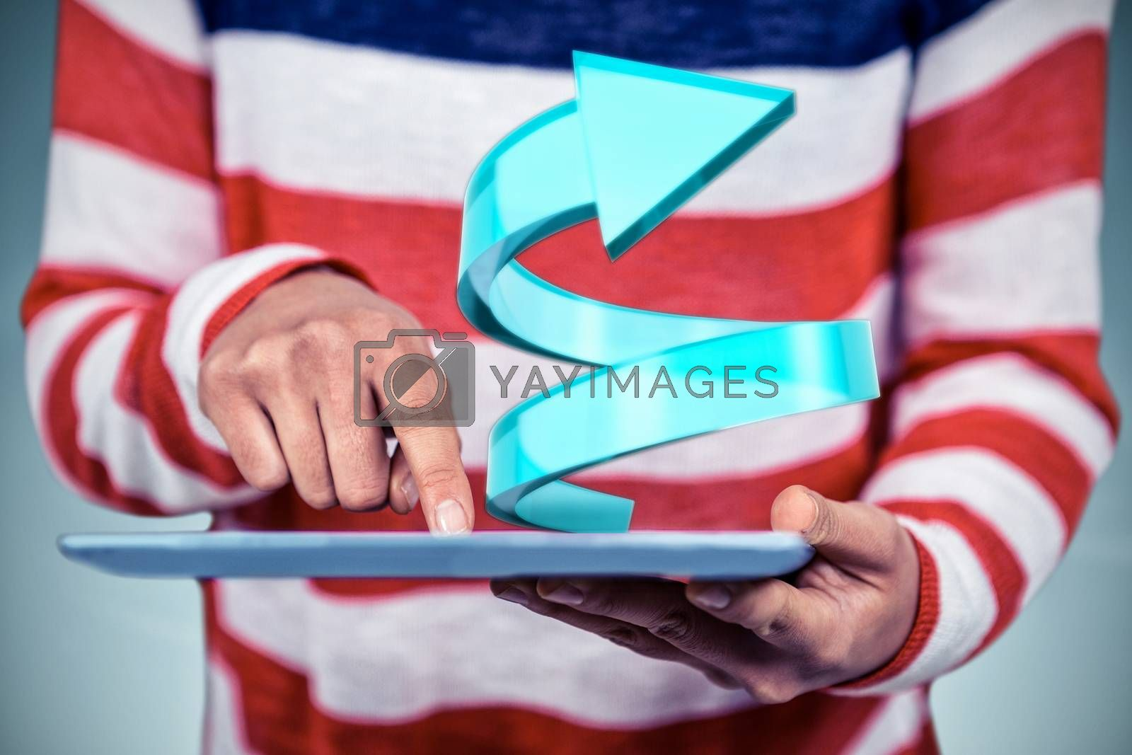 Mid section of woman using tablet against grey vignette