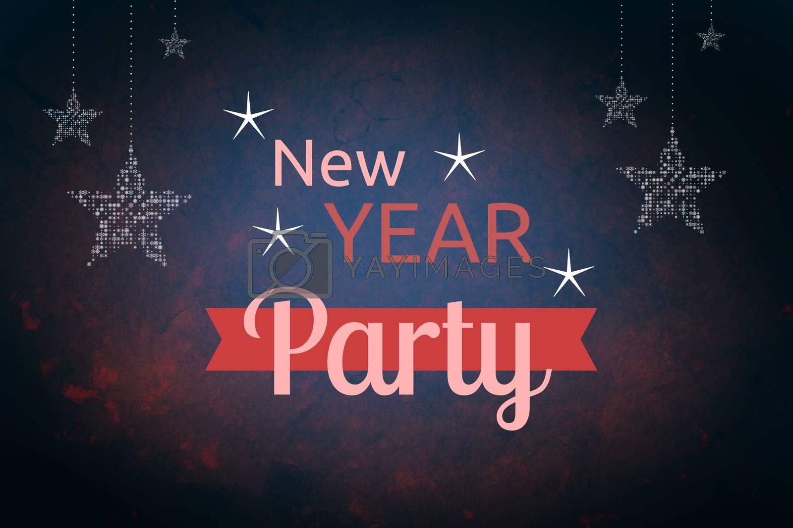 Digital Composite of New Year Message on Dark Blue Background Design