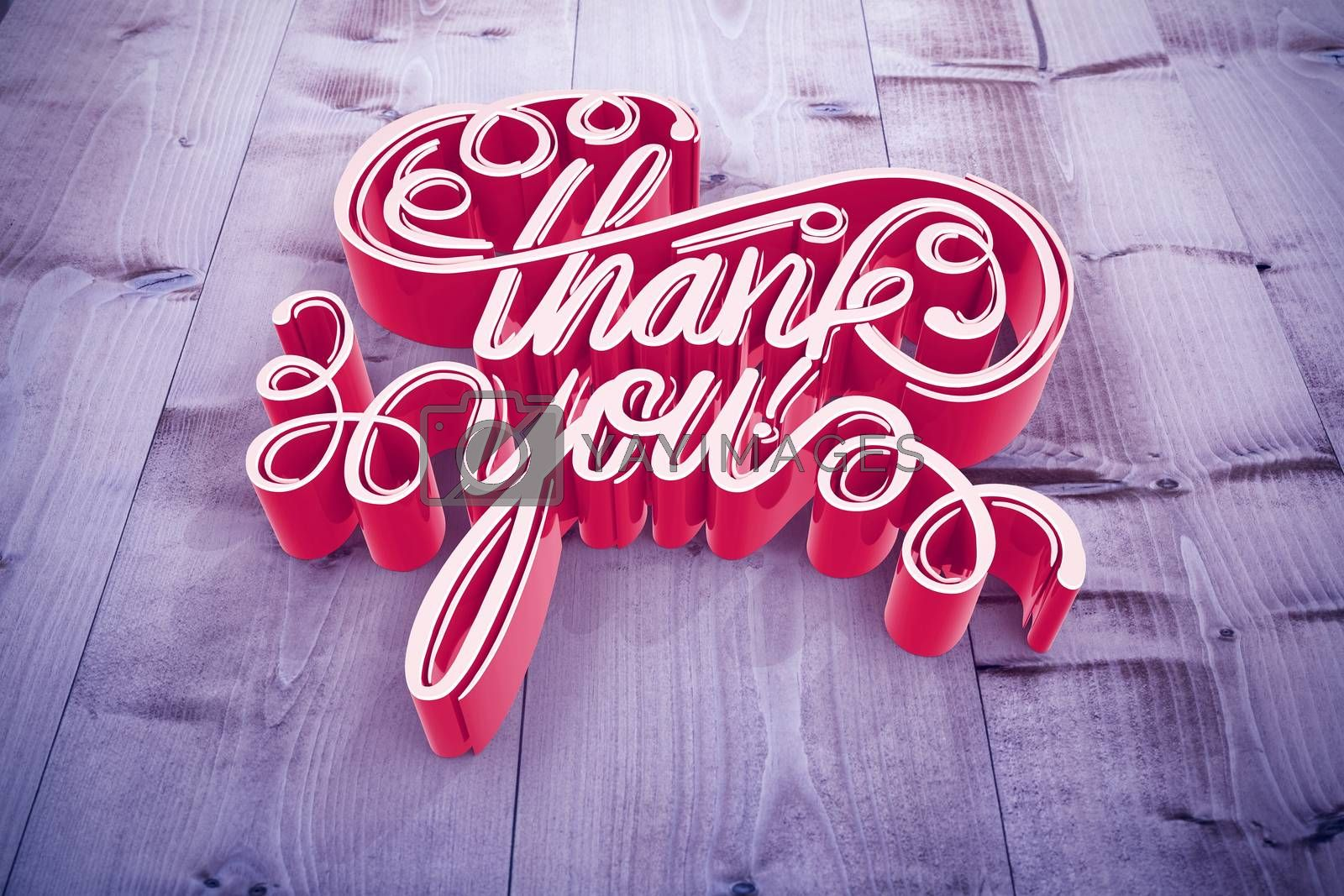 Illustration of of thank you text against bleached wooden planks background
