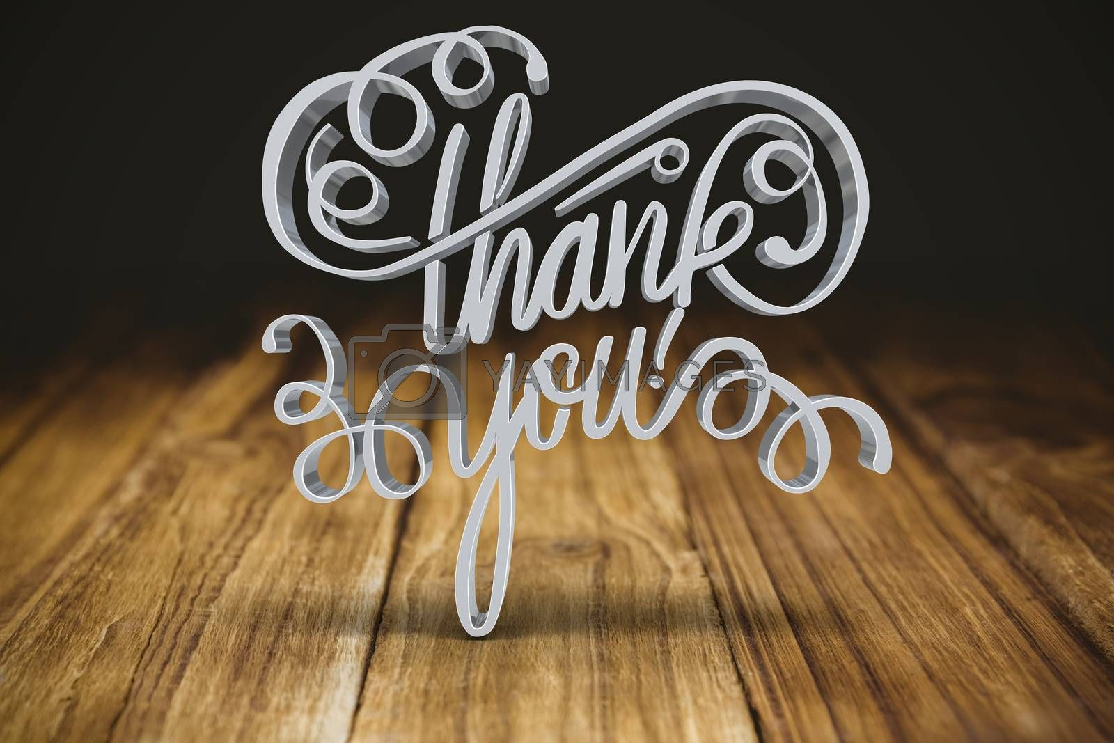 Three dimensional of thank you text against wooden table