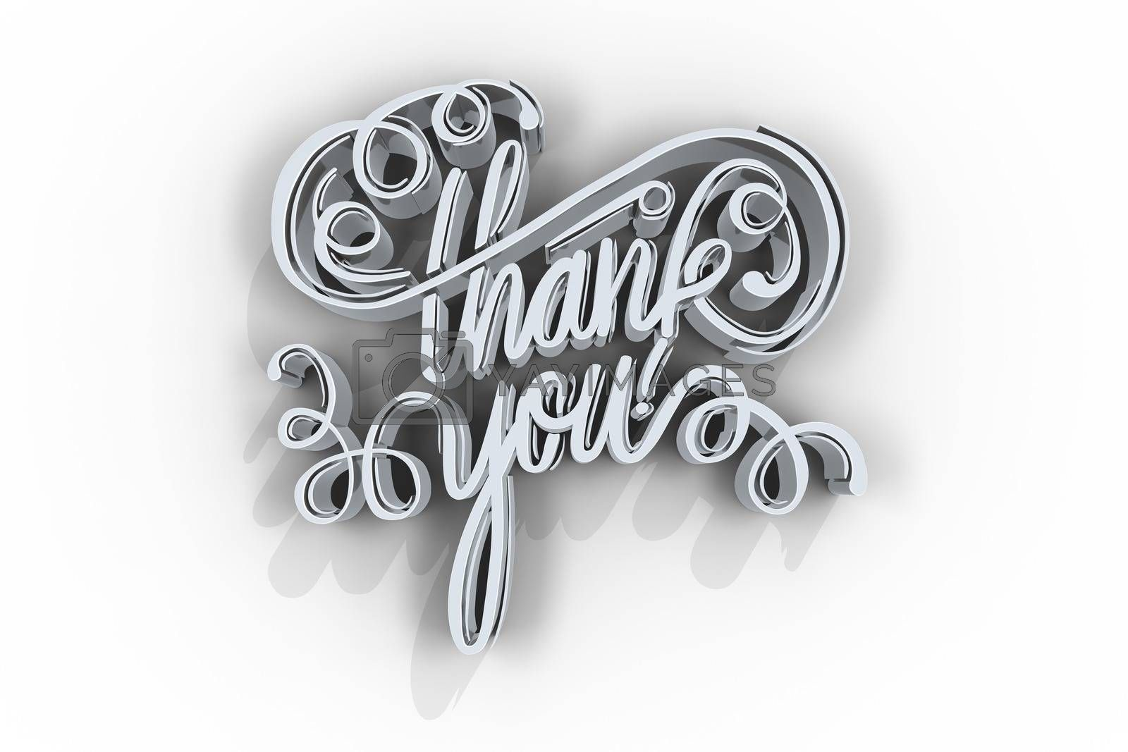 Digitally generated image of thank you text over plain background