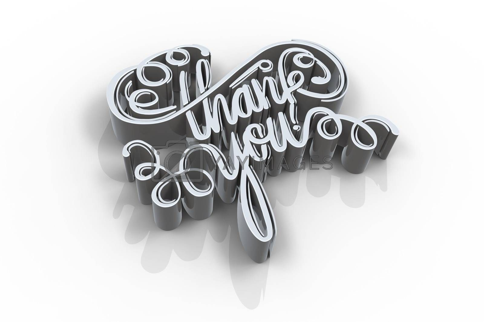 Illustration of thank you text against white background