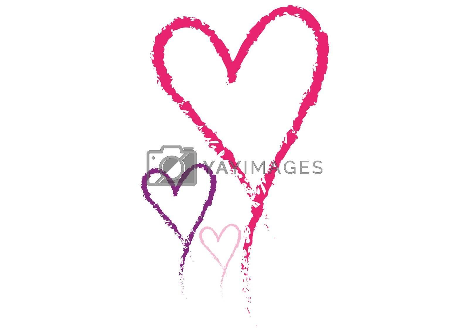 Valentines love hearts on white background