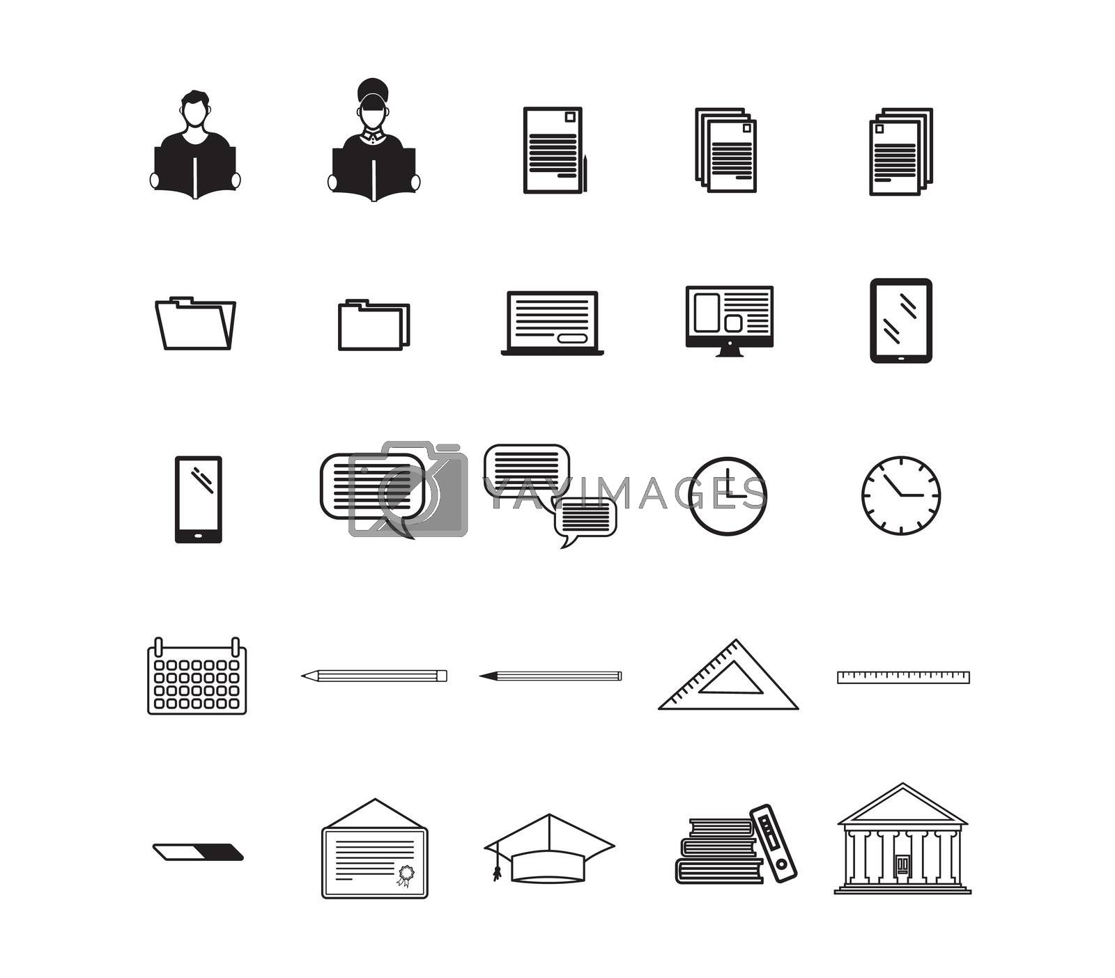 Various vector signs of education on white background