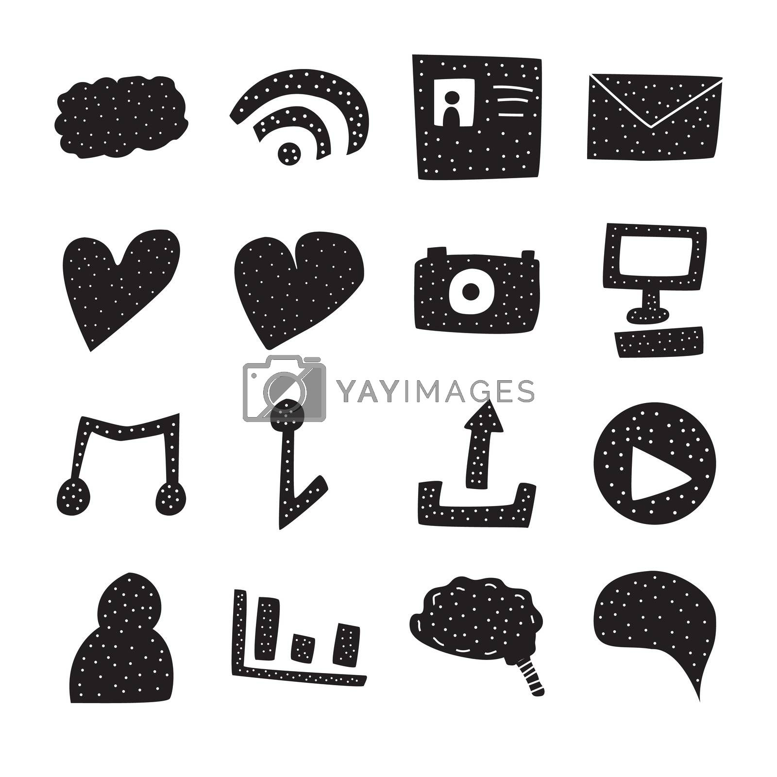 Vector icon set for internet and communication on white background