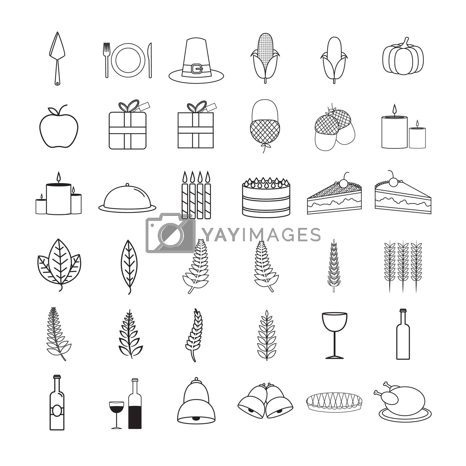 Vector icon set of food and drink on white background