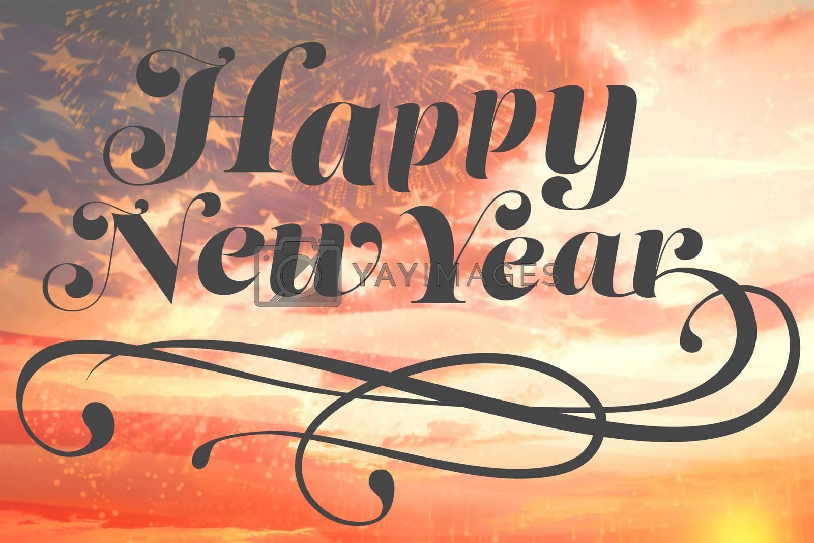 Elegant happy new year against digitally generated american flag waving