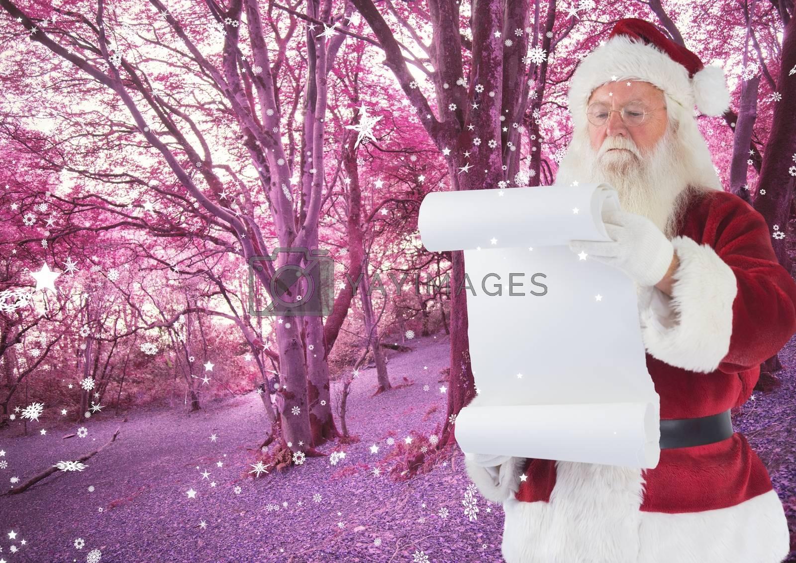 Santa claus holding checklist against pink forest background