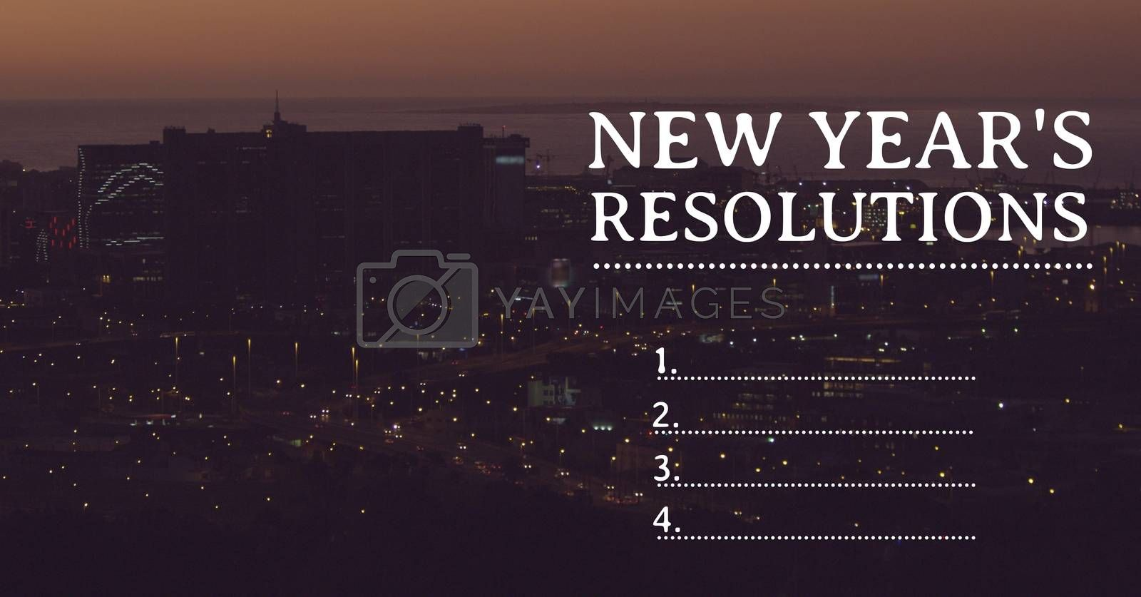 List of new year resolution goals against urban city in background