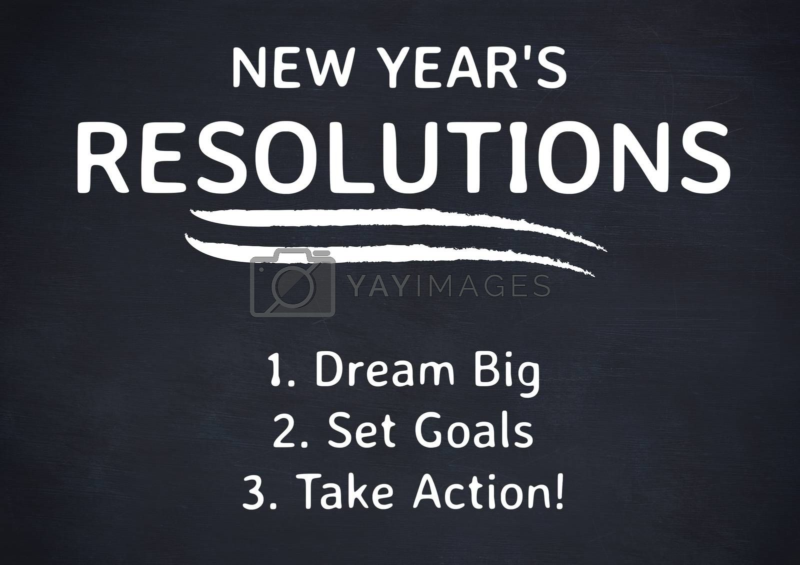 List of new year resolution goals against black background