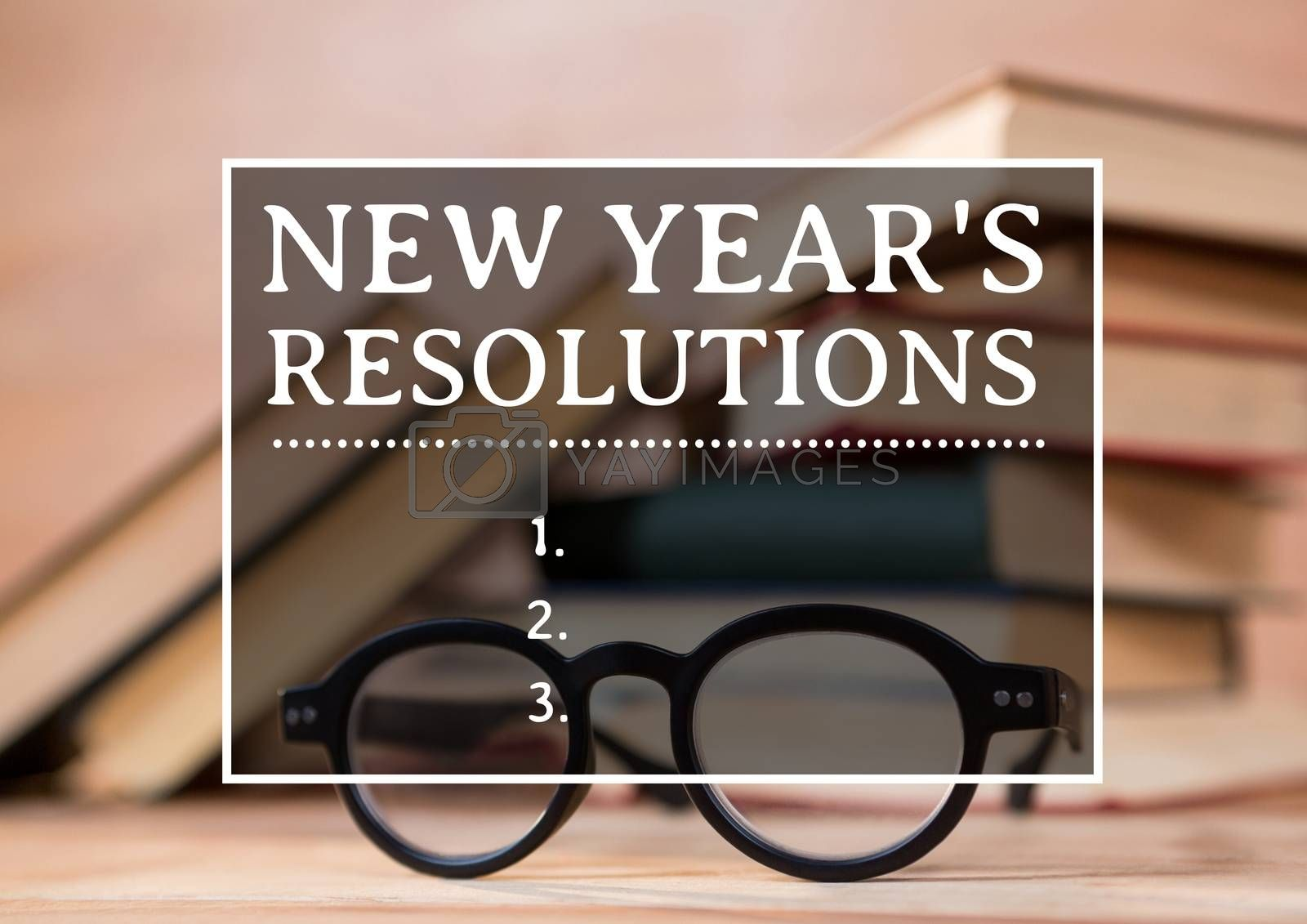 New year resolution goals against books and spectacles in background