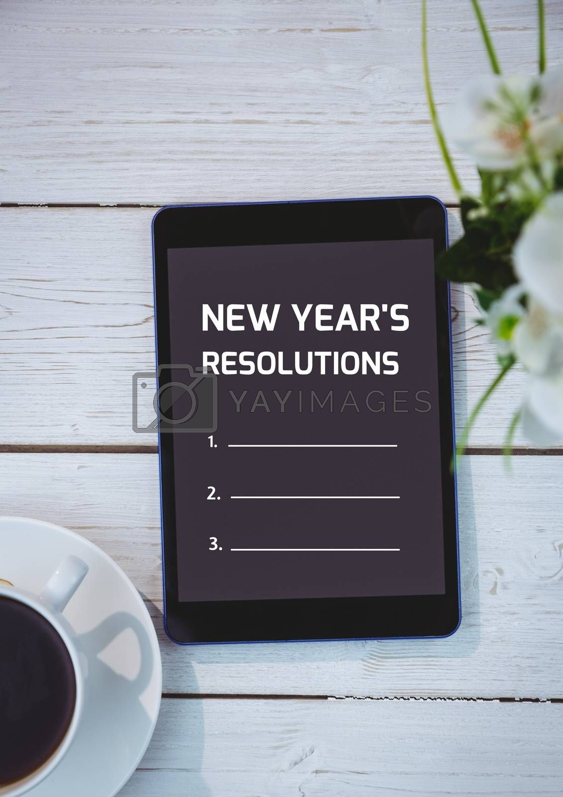 List of new year resolution goals on a digital tablet