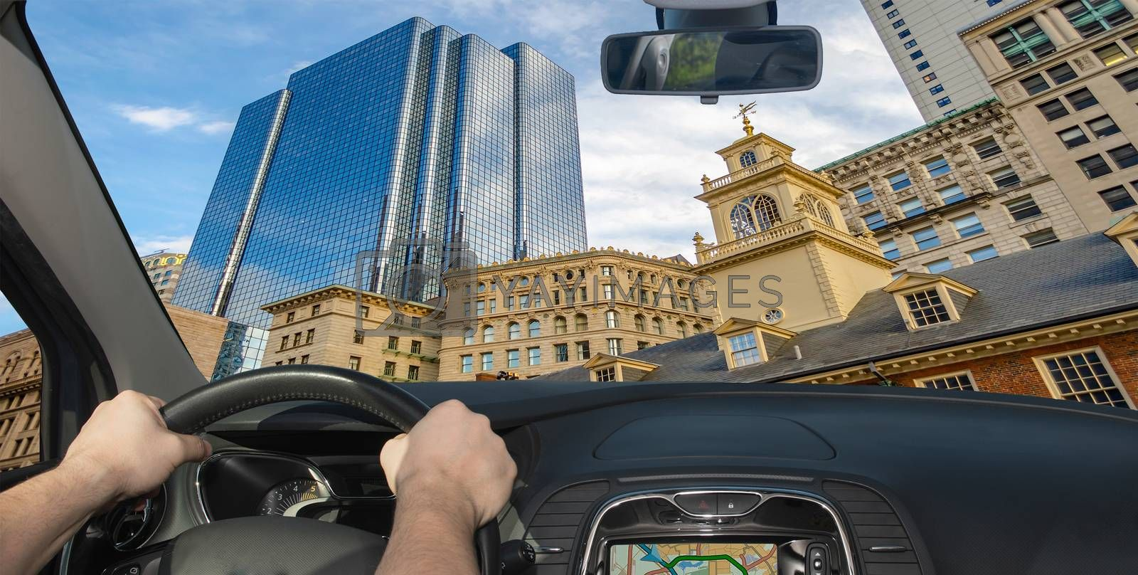 Driving a car in the city centre of Boston, Massachusetts, USA