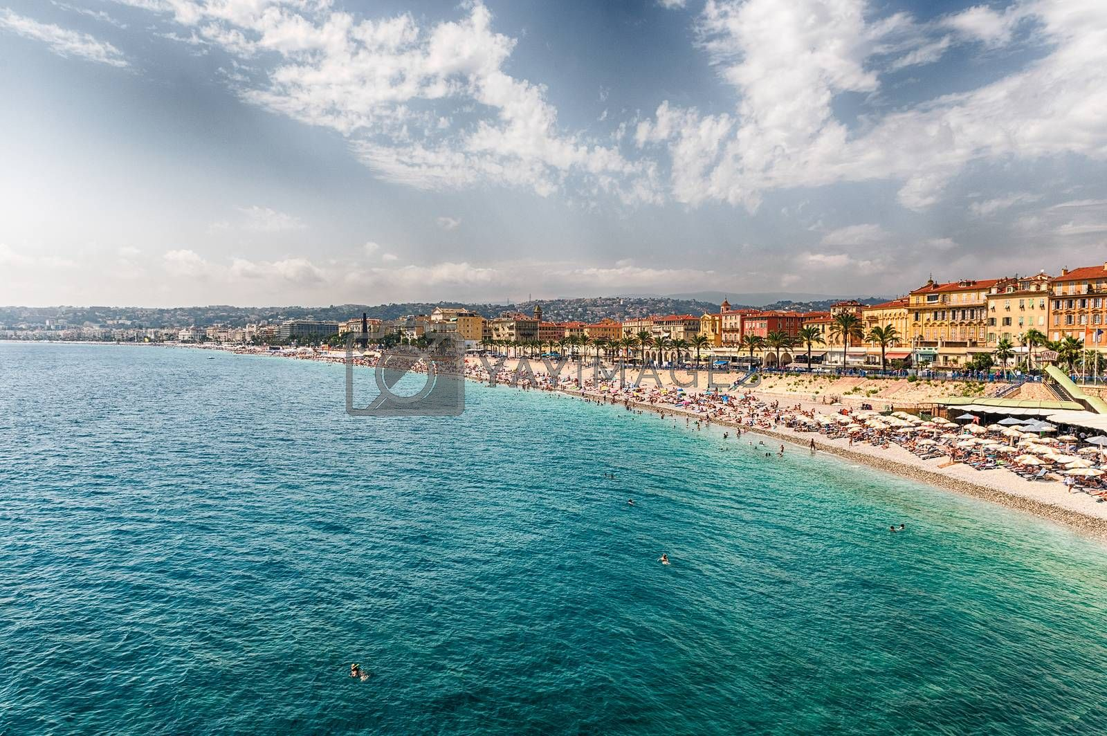Scenic aerial view of the waterfront and the Promenade des Anglais from the Castle Hill in Nice, Cote d'Azur, France