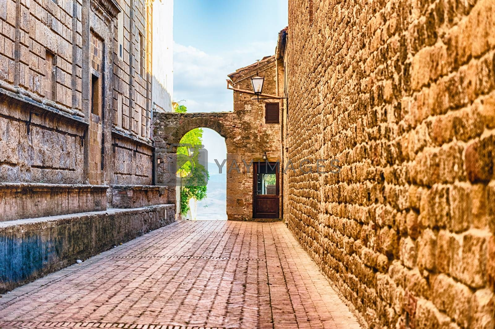 Medieval scenic streets in the town of Pienza, province of Siena, Tuscany, Italy