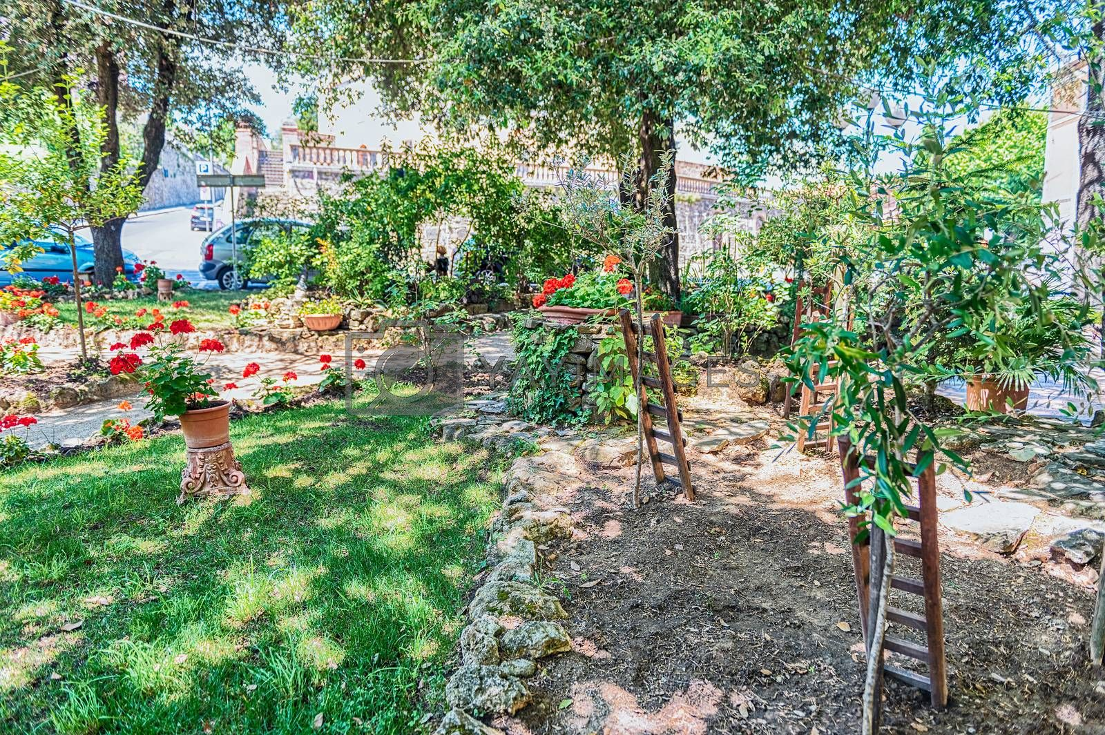 Beautiful garden in a public park of  the town of Montalcino, province of Siena, Tuscany, Italy