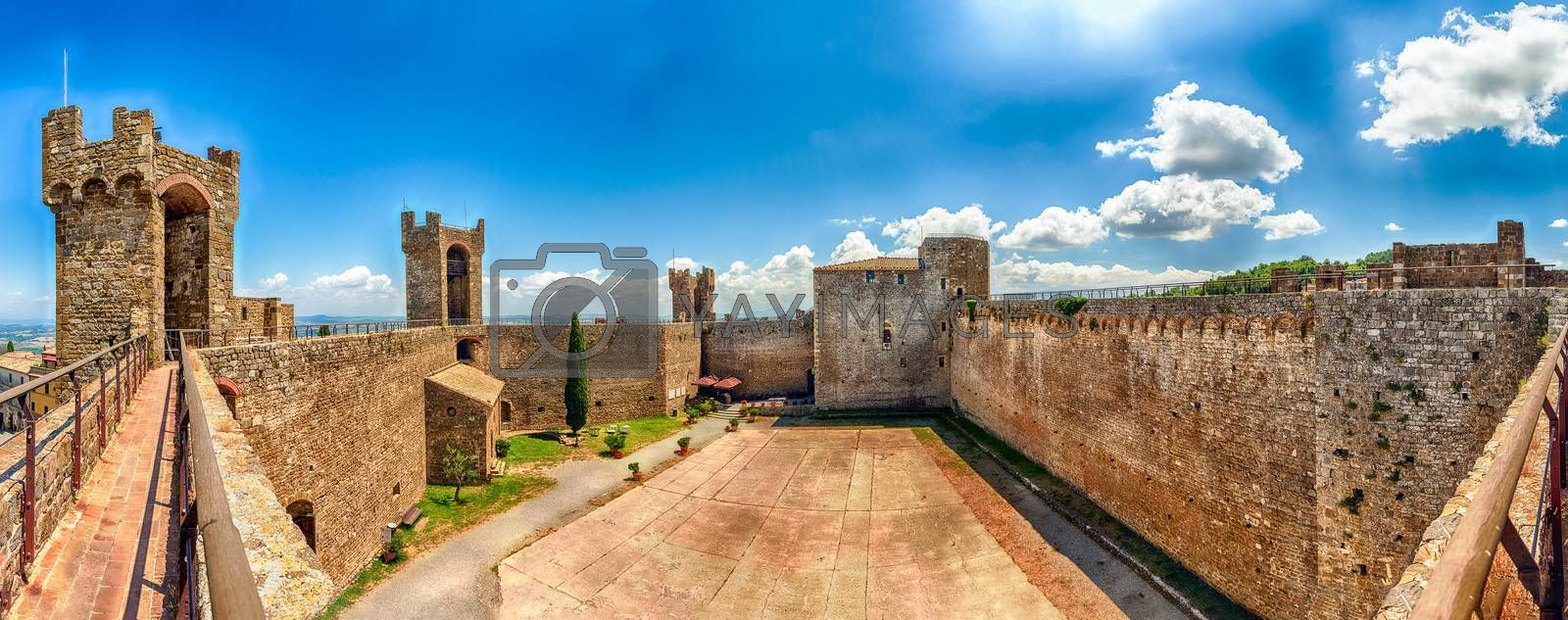 Interior panoramic view of a medieval italian fortress, iconic landmark and one of the most visited sightseeing in Montalcino, Tuscany, Italy