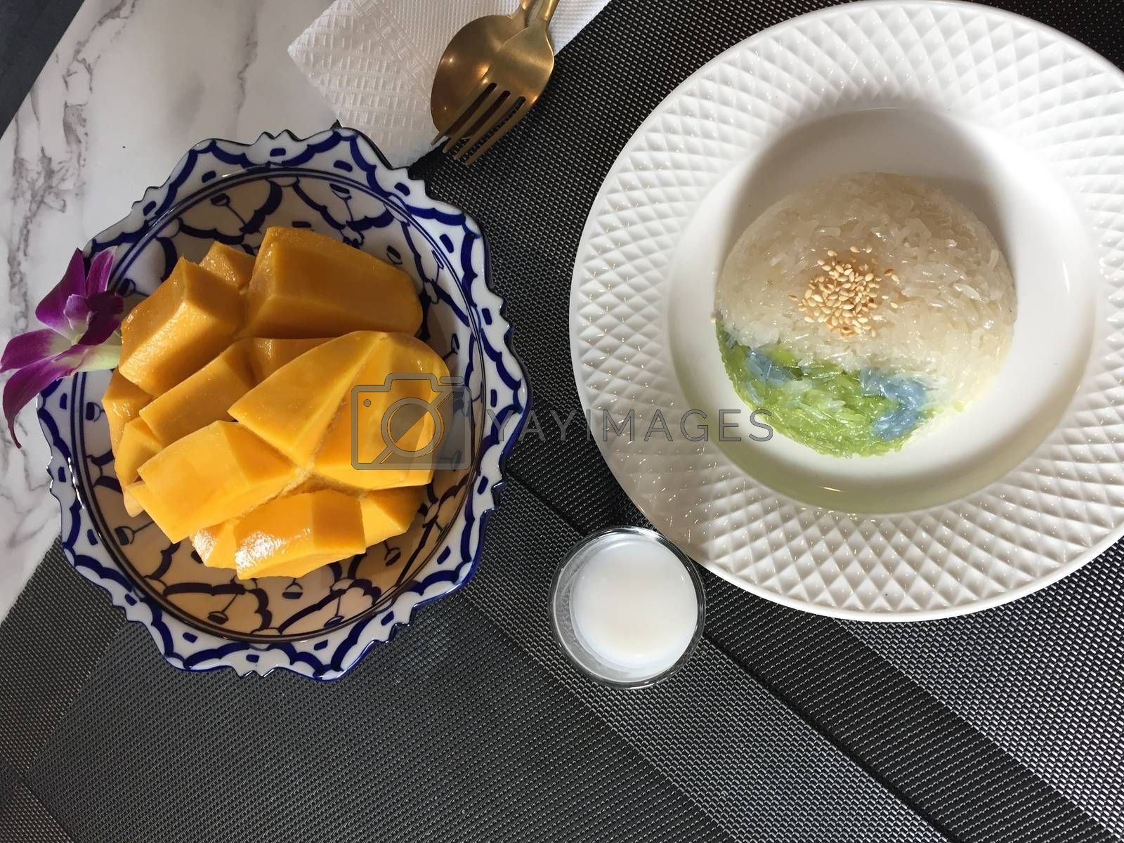 Thai popular dessert sweet Mango With Sticky Rice with mango coconut milk.