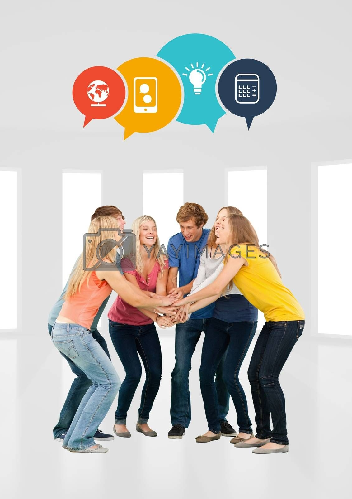 Digital Composite of Cheerful group of student in circle against white background