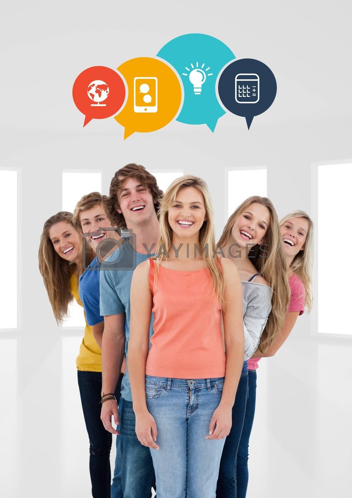 Digital composite of Teens in row smiling