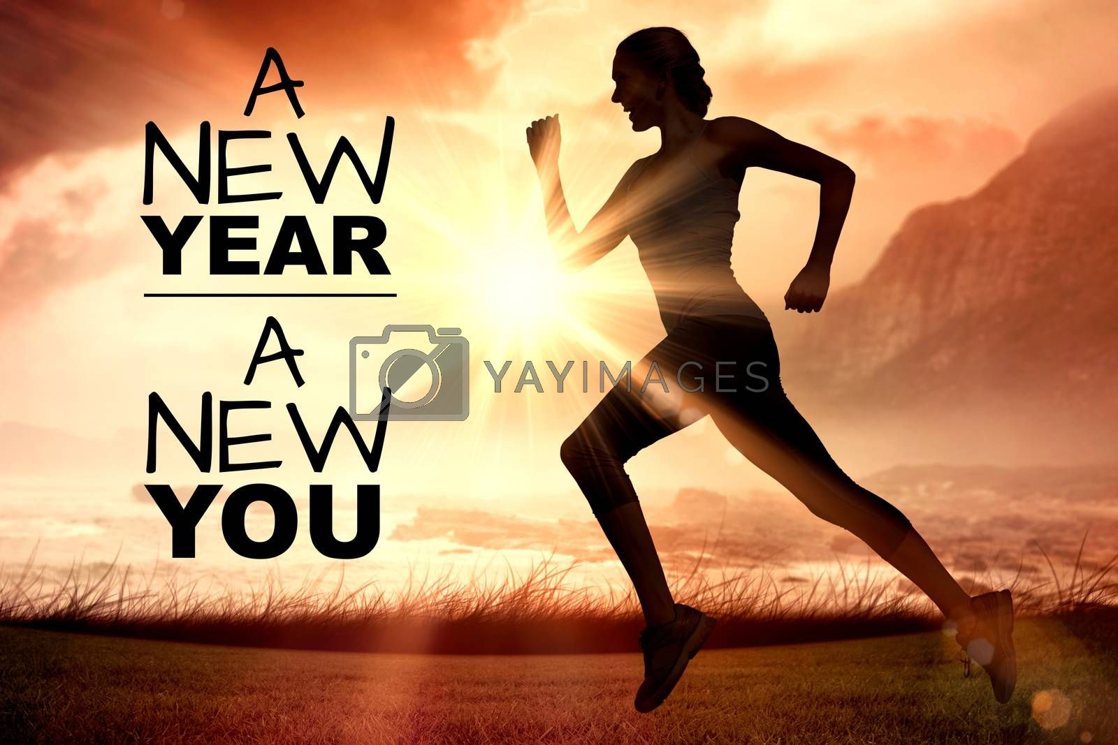 New year new you against side view of silhouette woman running
