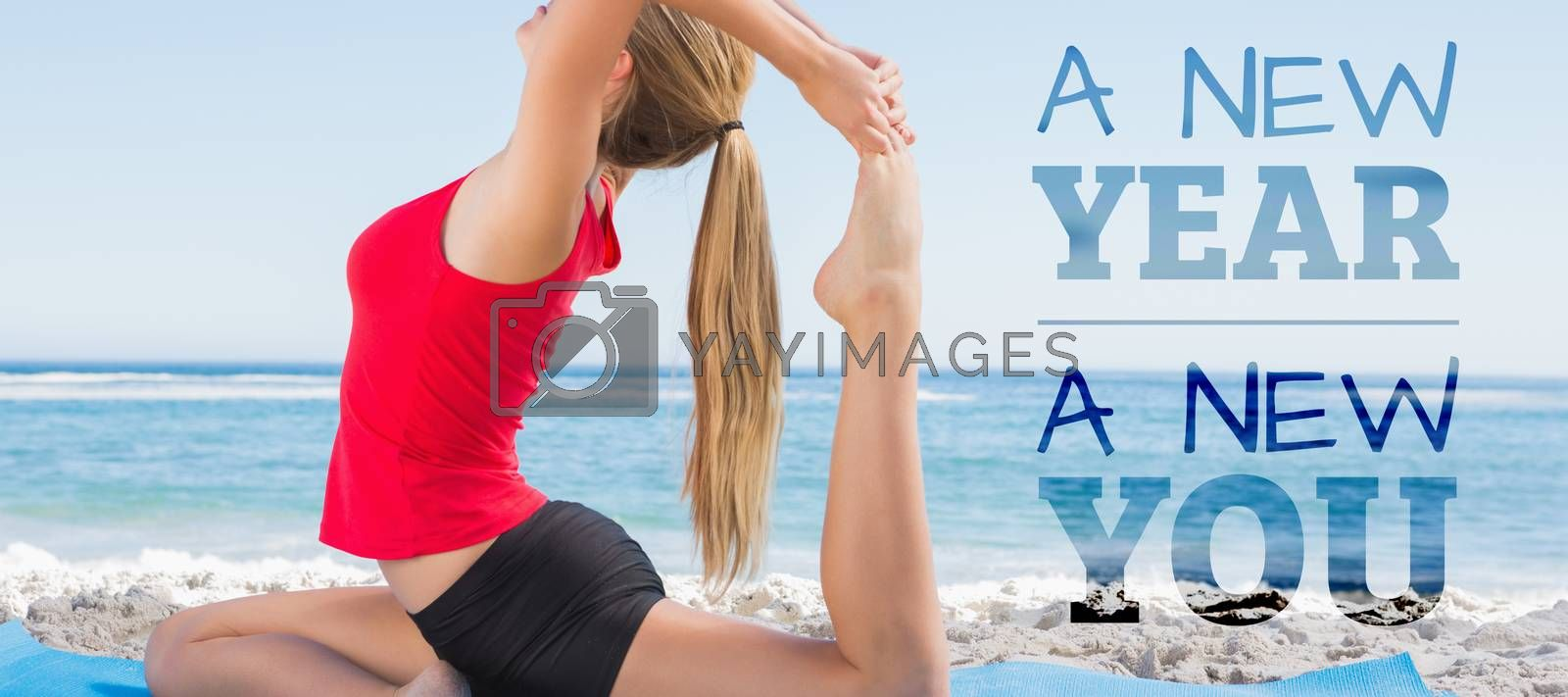 New year new you against fit blonde stretching leg in yoga pose