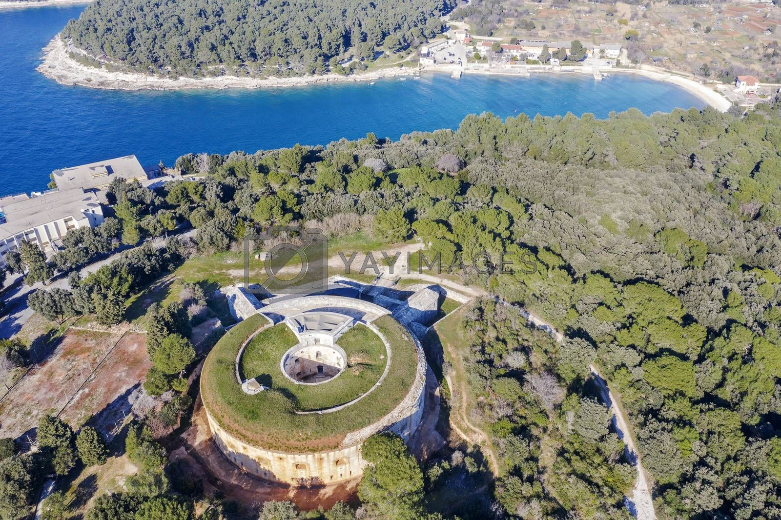 aerial view of Fort Bourguignon, a fortress built during the Austrian Empire, in the background  Valsaline bay, Pula, Istria, Croatia