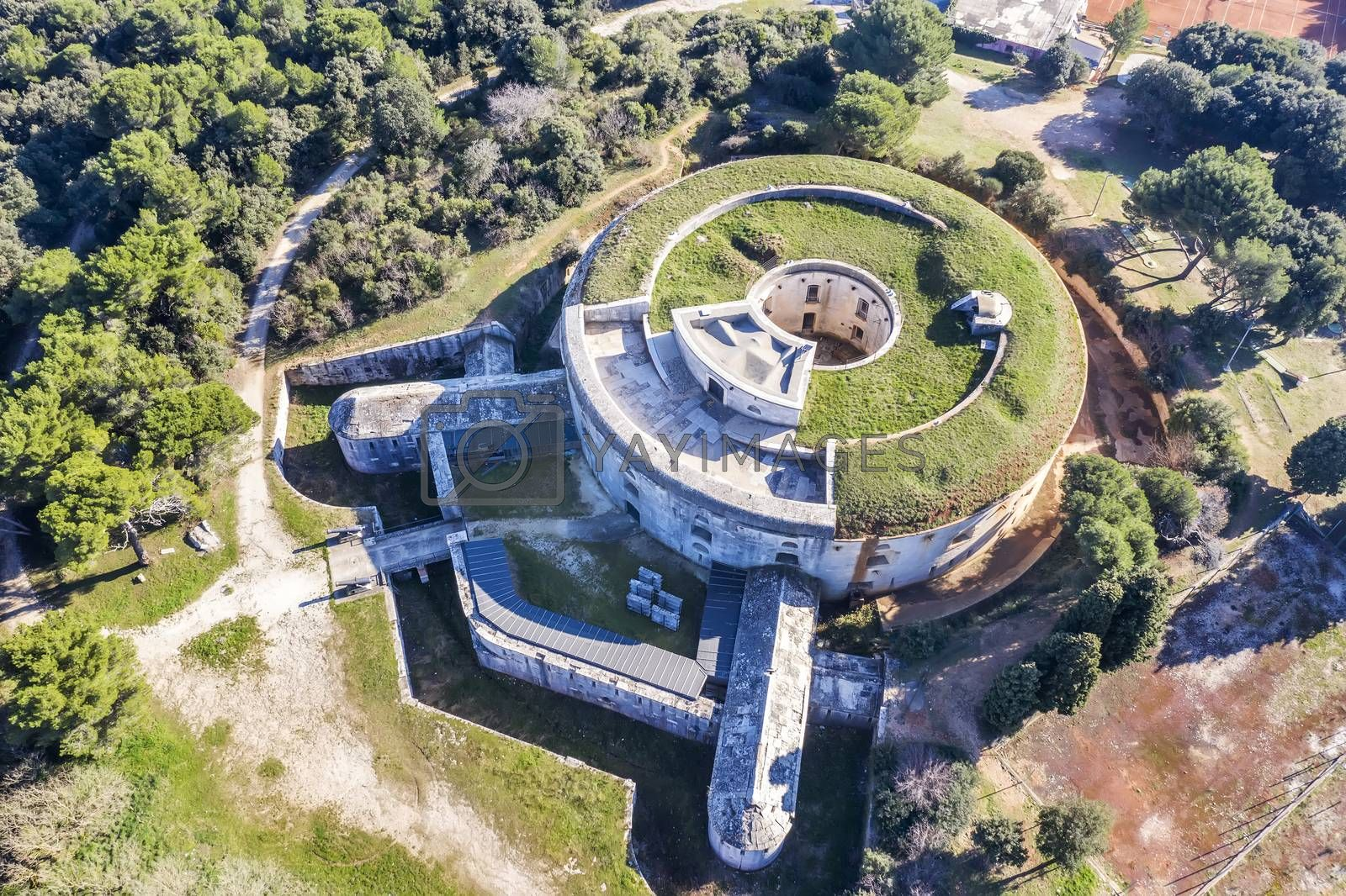 aerial view of Fort Bourguignon, a fortress built during the Austrian Empire in Pula, Istria, Croatia