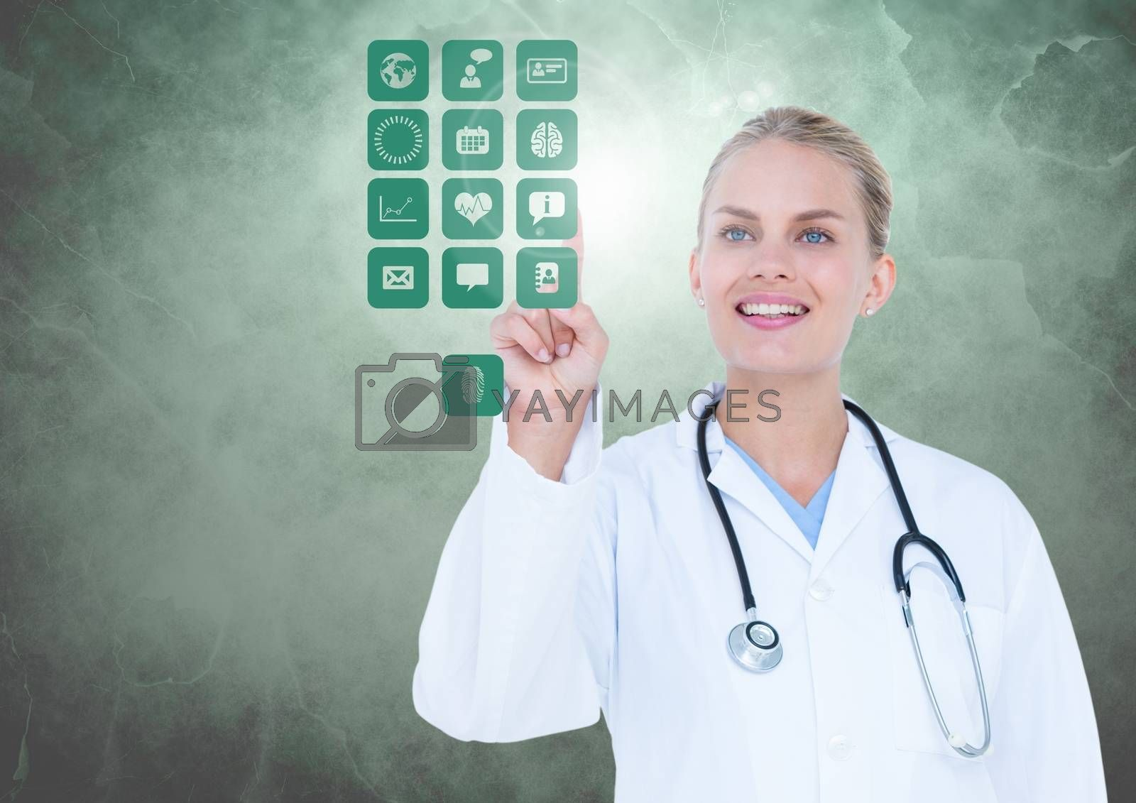 Digital composition of doctor touching digitally generated medical icons against white background