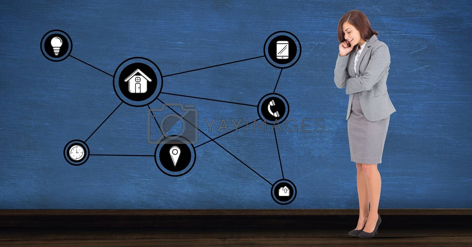 Digital composite image of happy businesswoman looking at connecting communication icons