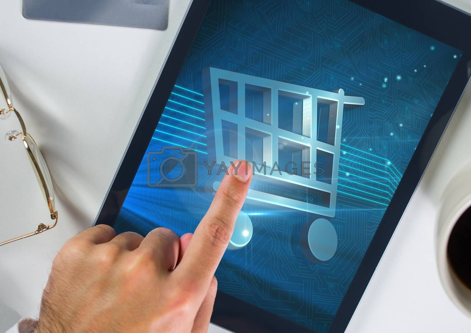 Conceptual image of man doing online shopping on digital tablet