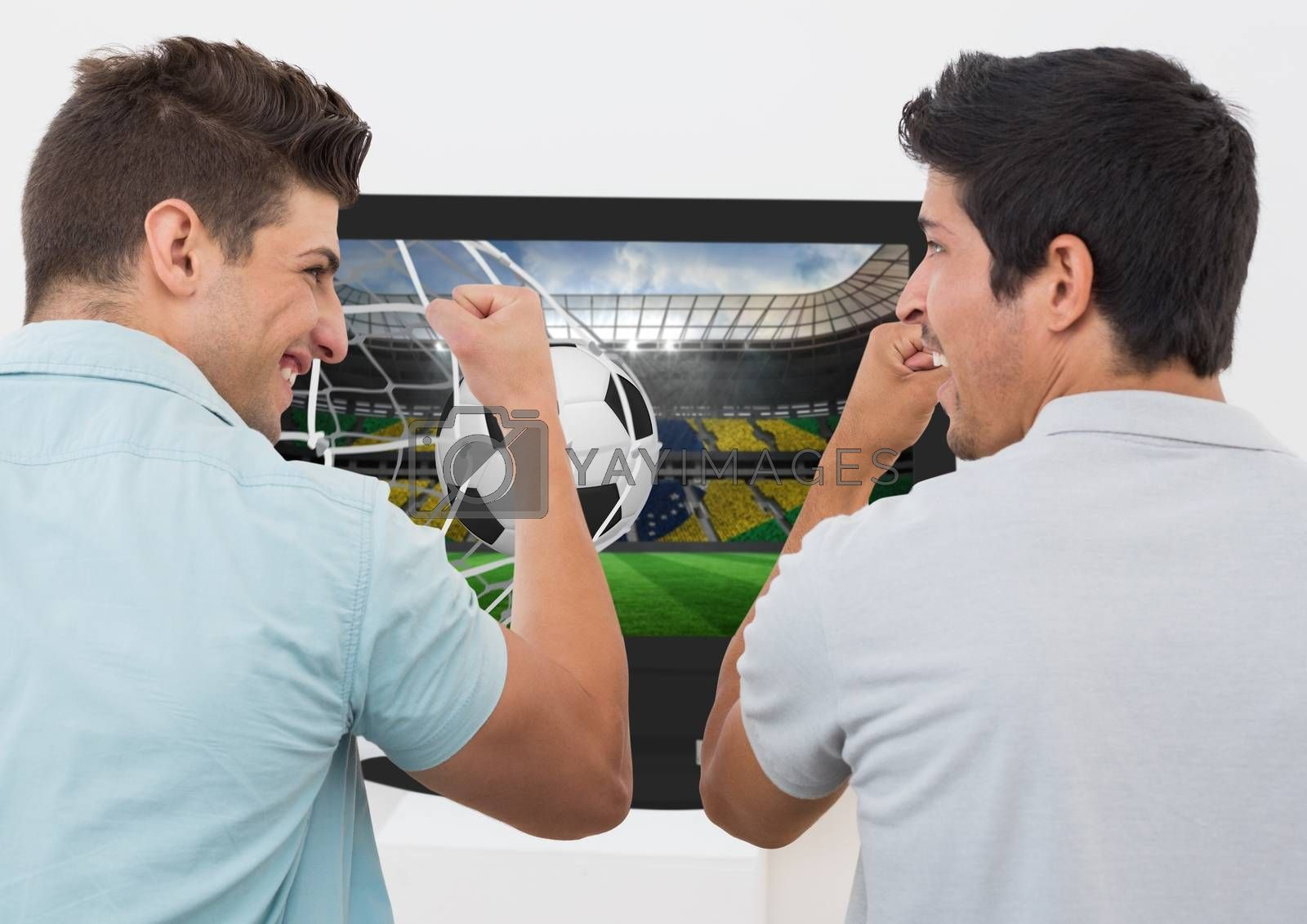 Friends cheering while watching soccer match on television against white background