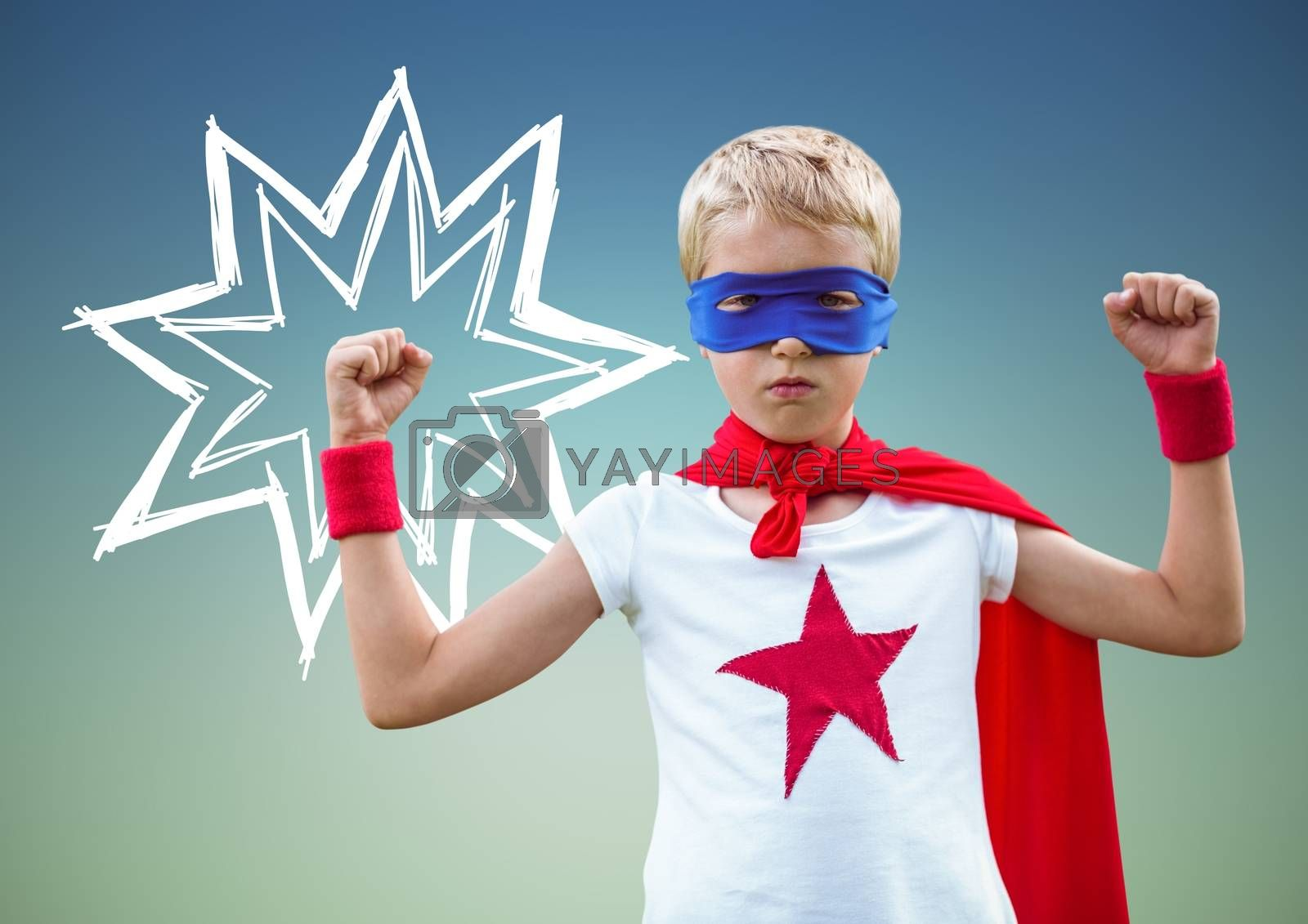 Digital composition of kid in superhero costume flexing his arms against green background