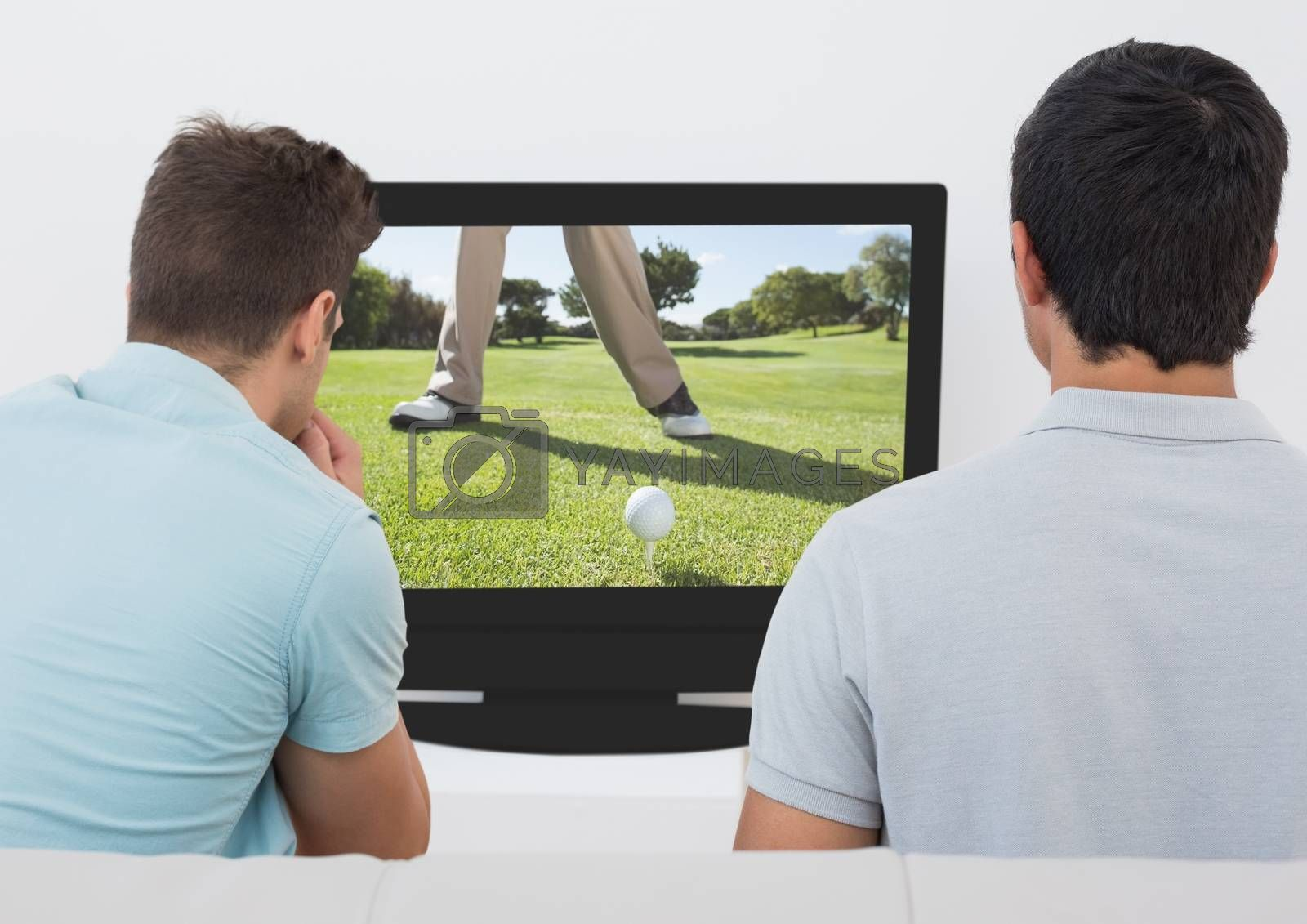 Rear view of friends watching golf on television at home