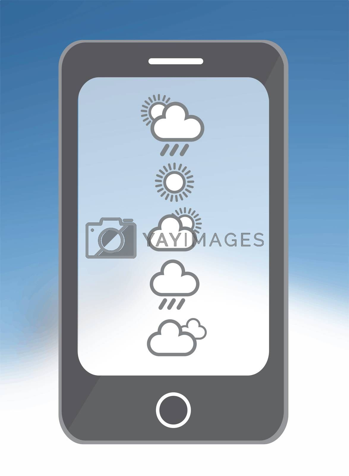Digitally generated weather app on smarphone in blue