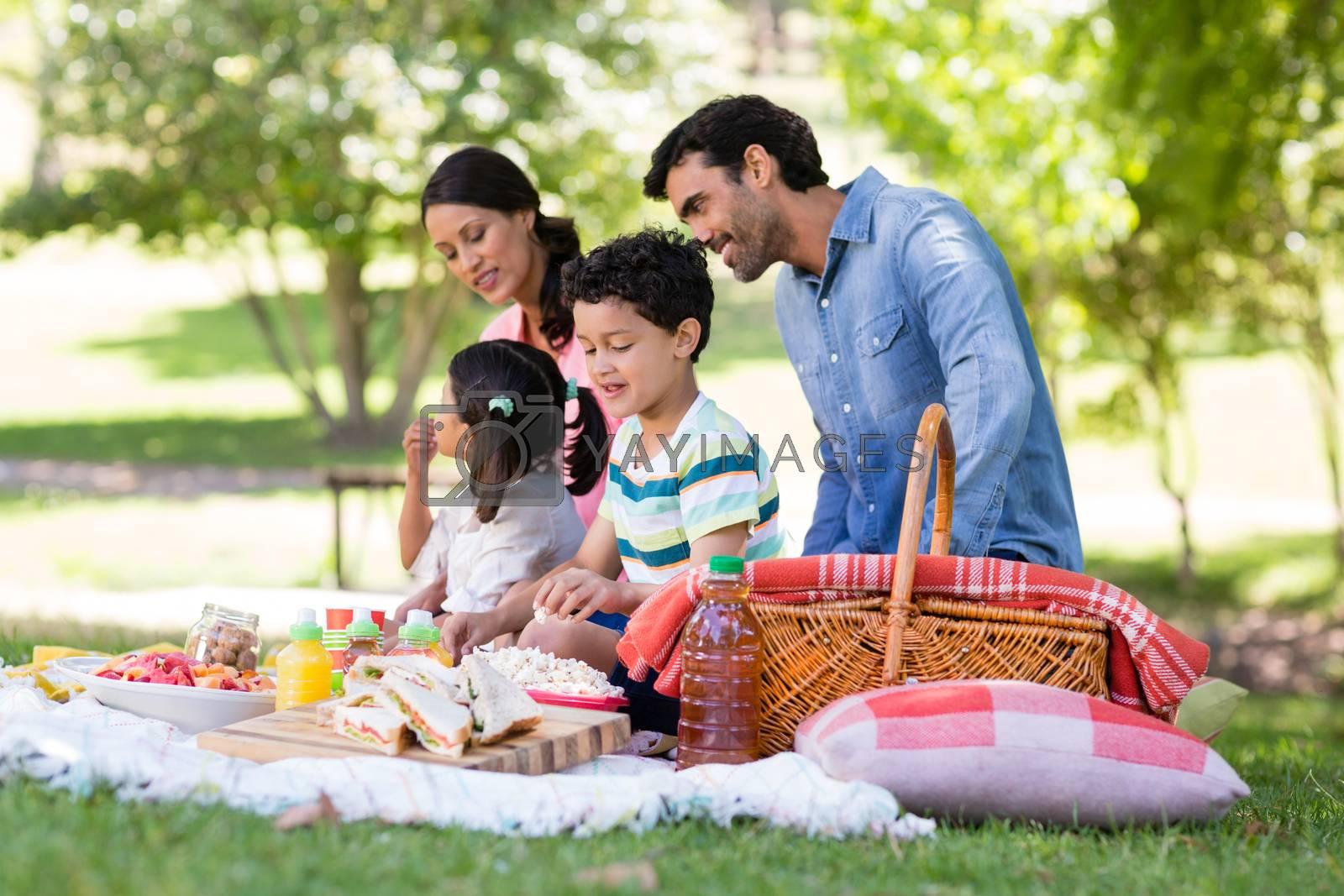 Happy family having breakfast in park on a sunny day