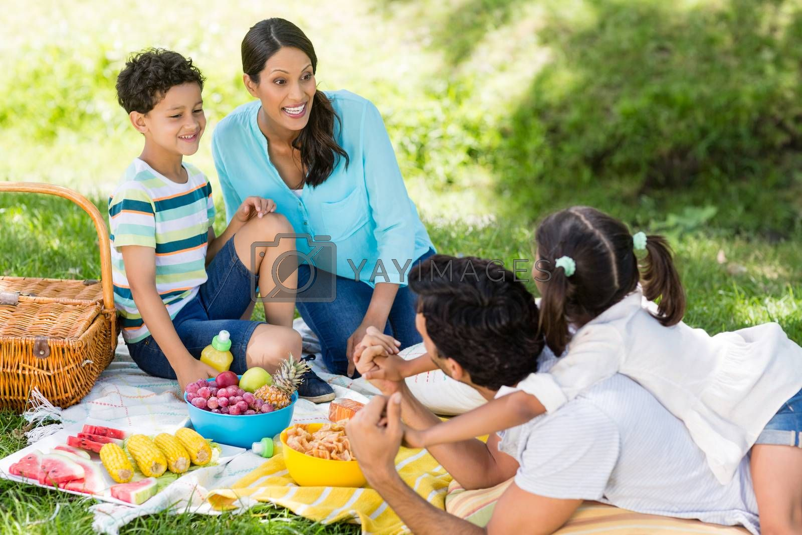 Happy family enjoying together in a park on sunny day