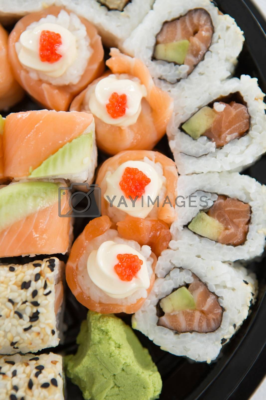 Close-up of sushi rolls with salmon