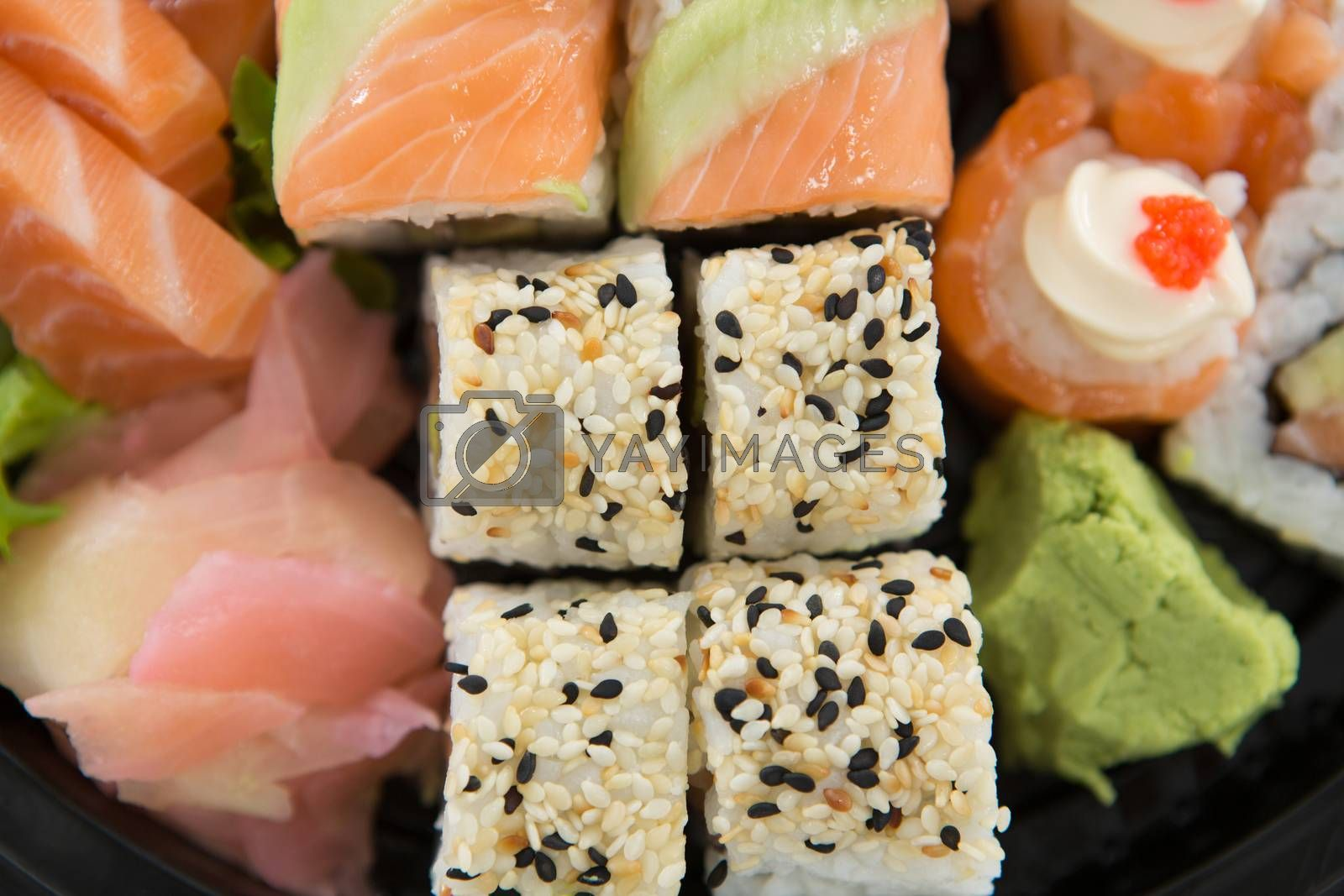Close-up of sushi with salmon