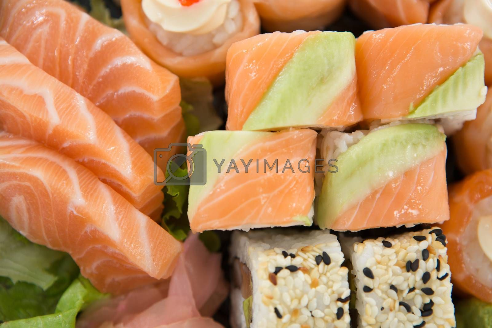 Close-up of delicious assorted sushi