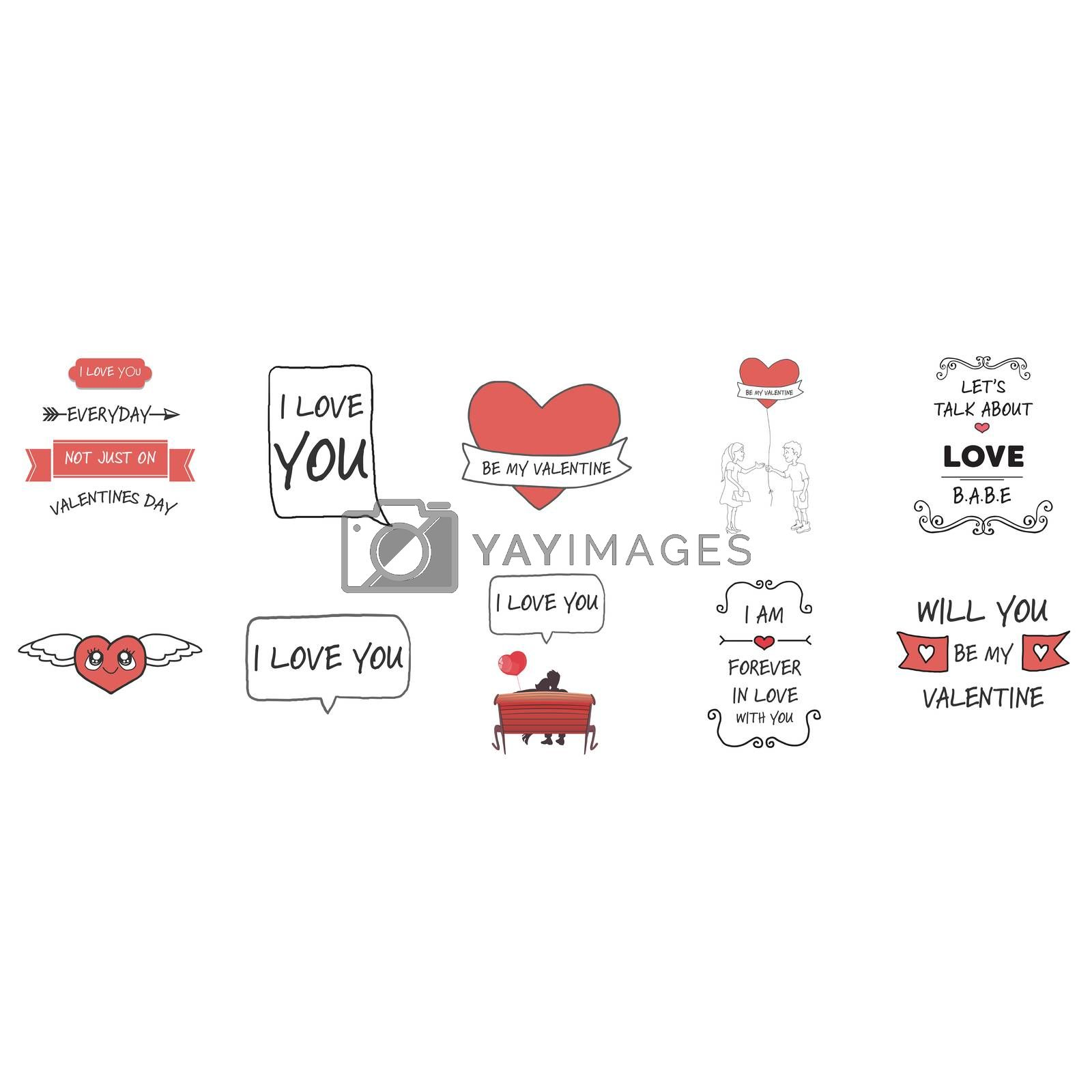 Love and Valentines day vector icons against white background