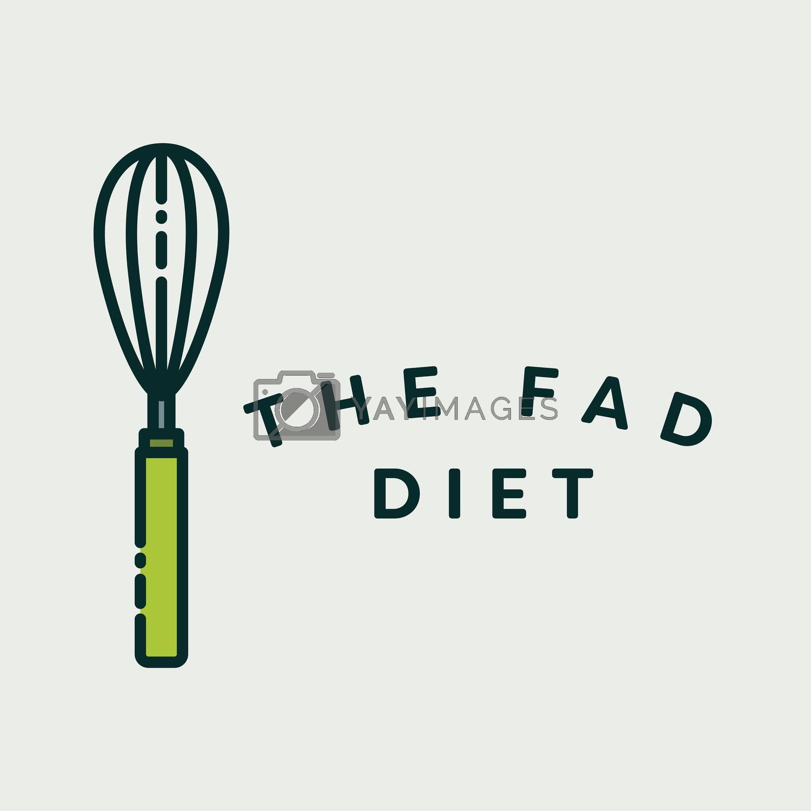 Vector image of egg beater with text fad diet against white background